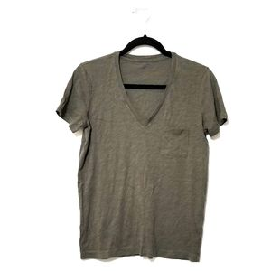 Madewell S Olive Green V-Neck Tee Shirt Top